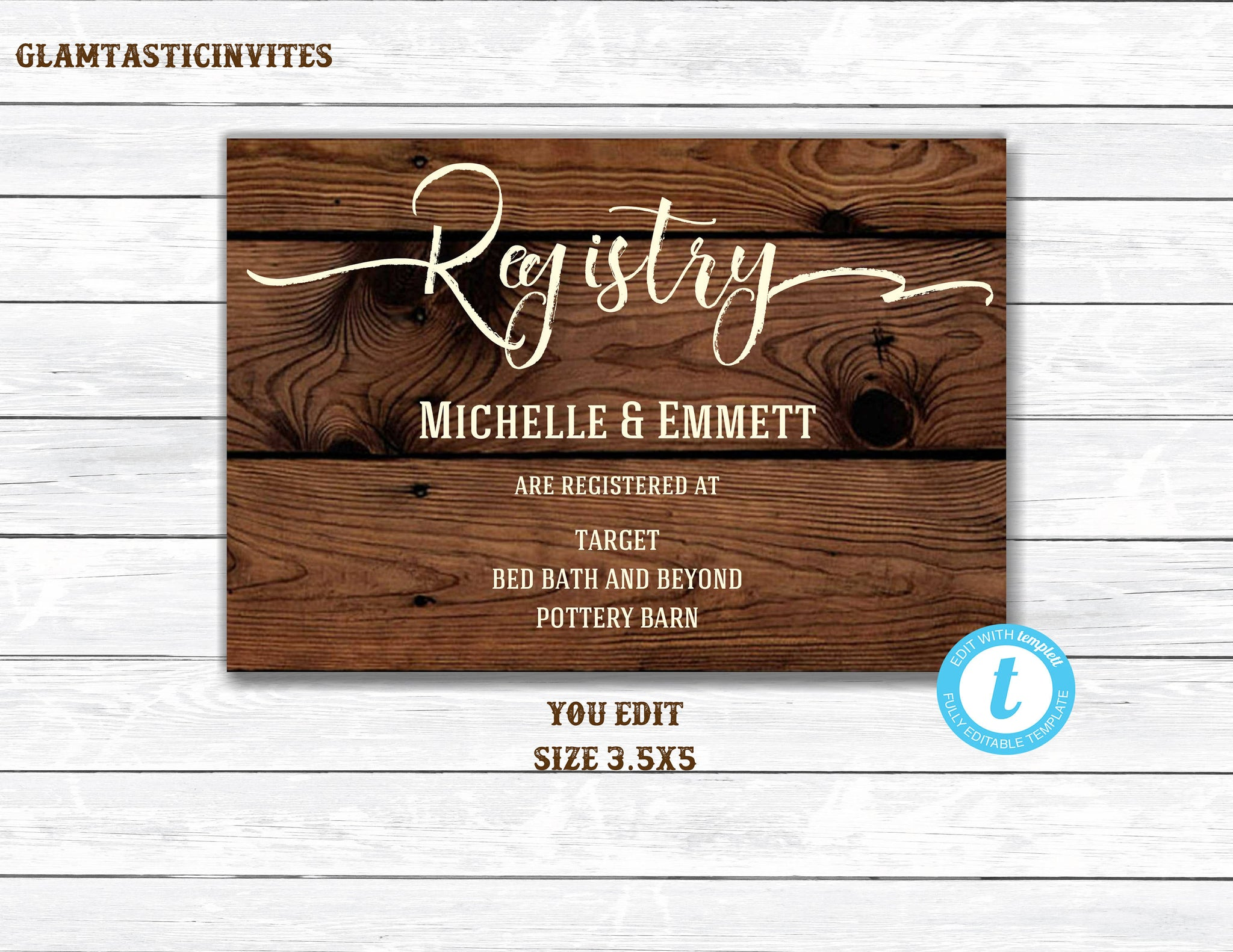 Registry Card, Registry Card Template, Printable Registry Card, Wedding Template, Rustic, Elegant, Simple, Registry Card, DIY, YOU EDIT