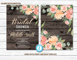 Rustic Bridal Shower Invitation, Rustic Floral Bridal Shower Invitation, INSTANT DOWNLOAD, Country Bridal Shower Invitation, Rustic Shower
