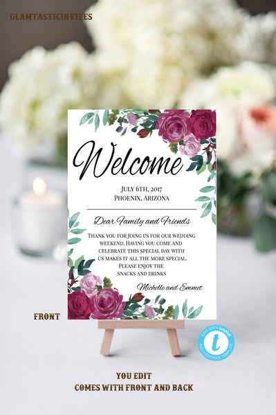 Floral Wedding Welcome Note Template Welcome Note Wedding Template