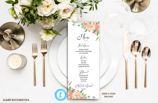 Wedding Menu Template.Wedding Menu Floral Wedding Menu Wedding Menu Template You Edit Printable Wedding Menu Elegant Menu Diy Template Rustic Wedding Menu