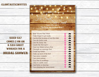 He Said She Said Bridal Shower Game, Rustic He Said She Said Bridal Shower Game, Bridal Shower Games, Rustic Bridal Shower, Rustic Games