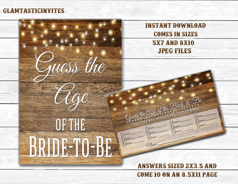 Guess the Bride-to-be Age, Guess the Age, Rustic Sign, Rustic Wedding Decor, Digital Sign, Rustic Bridal Shower Sign, Shower Game, DIY