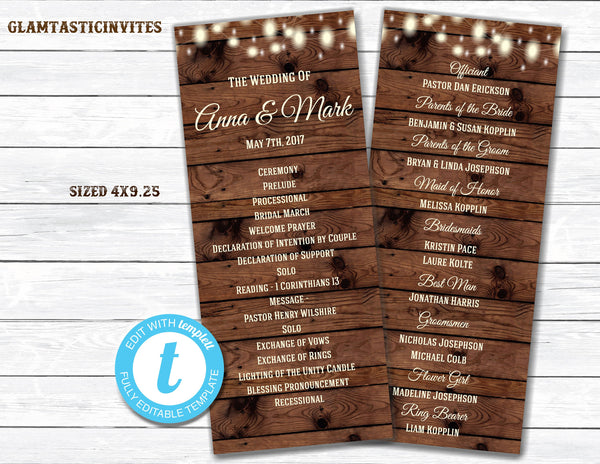 Rustic Wedding Program, Wedding Program, Rustic Card, Rustic Wedding, Digital Card, Printable Card, String Lights, Rustic, INSTANT DOWNLOAD