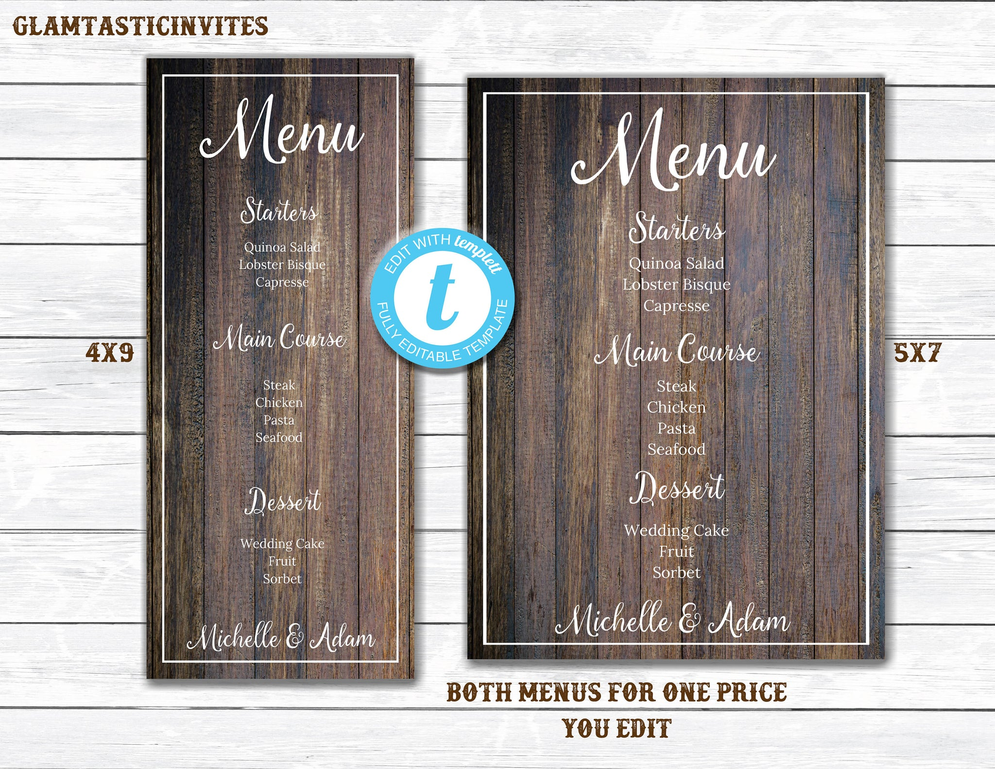 wedding menu template 5x7 menu 4x9 menu wedding menu. Black Bedroom Furniture Sets. Home Design Ideas