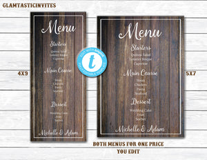 Wedding Menu Template, 5x7 Menu, 4x9 Menu, Wedding Menu, Rustic Menu, Menu Template, Rustic Menu Template, Wedding Menu Card, Printable Menu