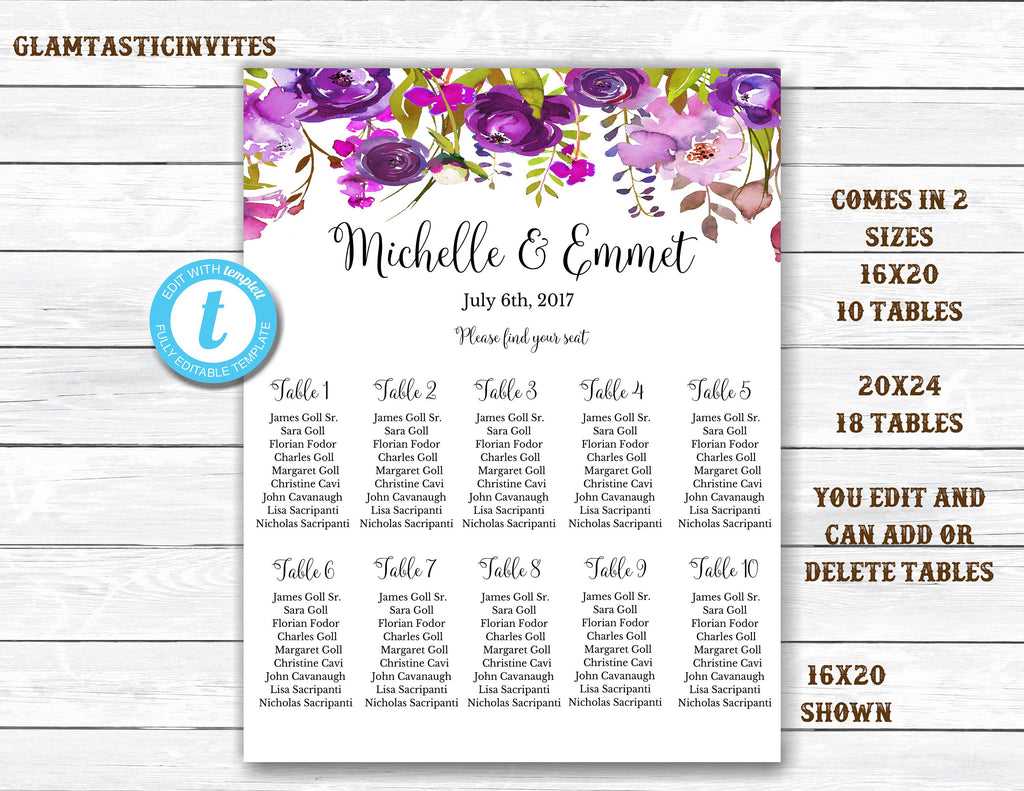 Wedding Seating Chart Template Floral Wedding Seating Chart Seating Chart Template Seating Board You Edit Seating Template Floral