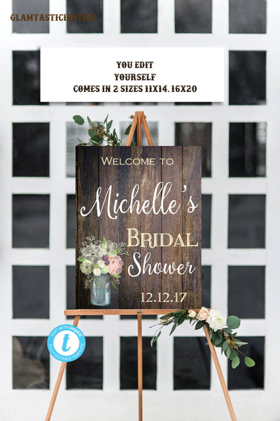 RUSTIC BRIDAL SHOWER Sign, Flower Bridal Shower Sign, Bridal Shower Template, Rustic Bridal Shower, Rustic, Baby Shower, Template, You Edit