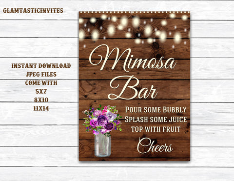 Mimosa Bar Sign, Bar Sign, Rustic Wedding Sign, Printable Sign, Shower Sign, Rustic Wedding, Mimosa Sign, Digital Sign, Rustic Mimosa Bar