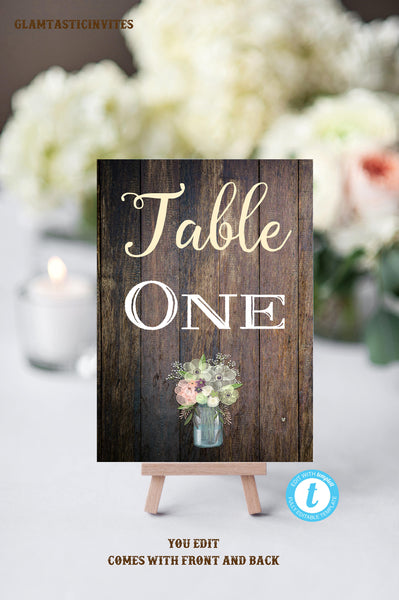 Rustic Table Numbers, Printable Table Numbers, Wedding Table Numbers, Instant Download, Rustic Wedding, Printable, Table Numbers, Rustic