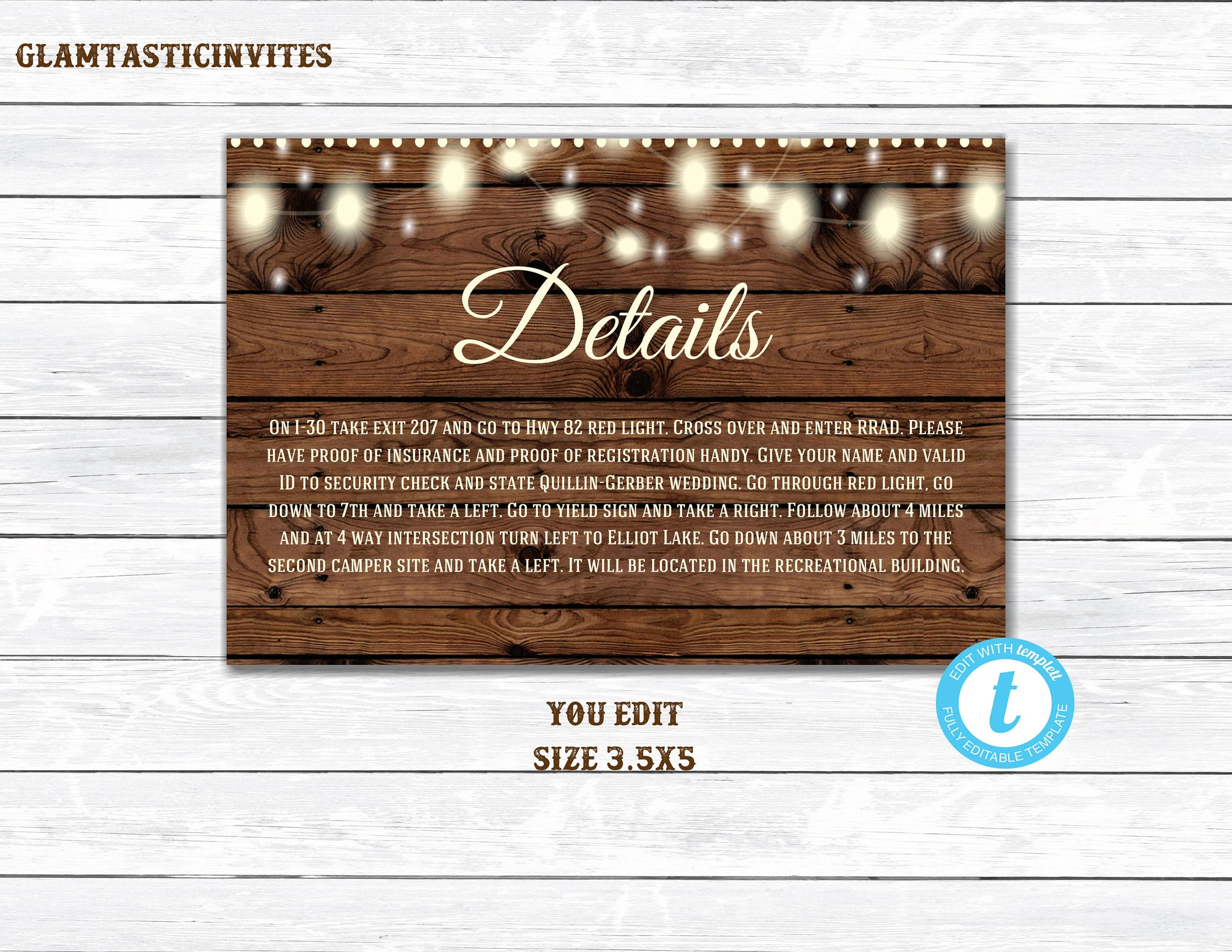 Details Card, Details Card Template, Printable Information Card, Wedding Template, Rustic, Elegant, Simple, Information Card, DIY, YOU EDIT