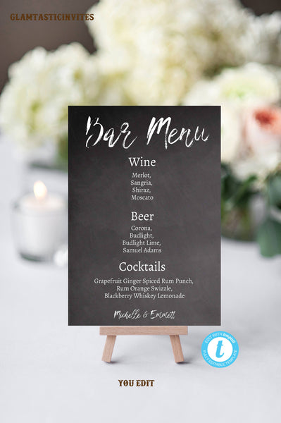 Wedding Bar Sign, Bar Menu Template, Bar Menu Sign, Printable Sign, DIY, Chalkboard Template, Chalkboard Bar Menu Sign, YOU EDIT, Template