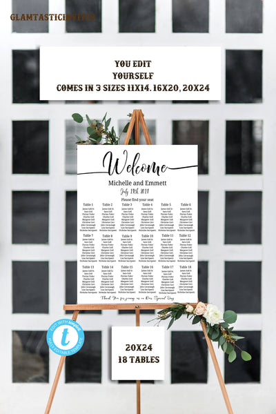 Wedding Seating Chart Template, Floral Wedding Seating Chart, Seating Chart Template, Seating Board, YOU EDIT, Seating Template, Calligraphy