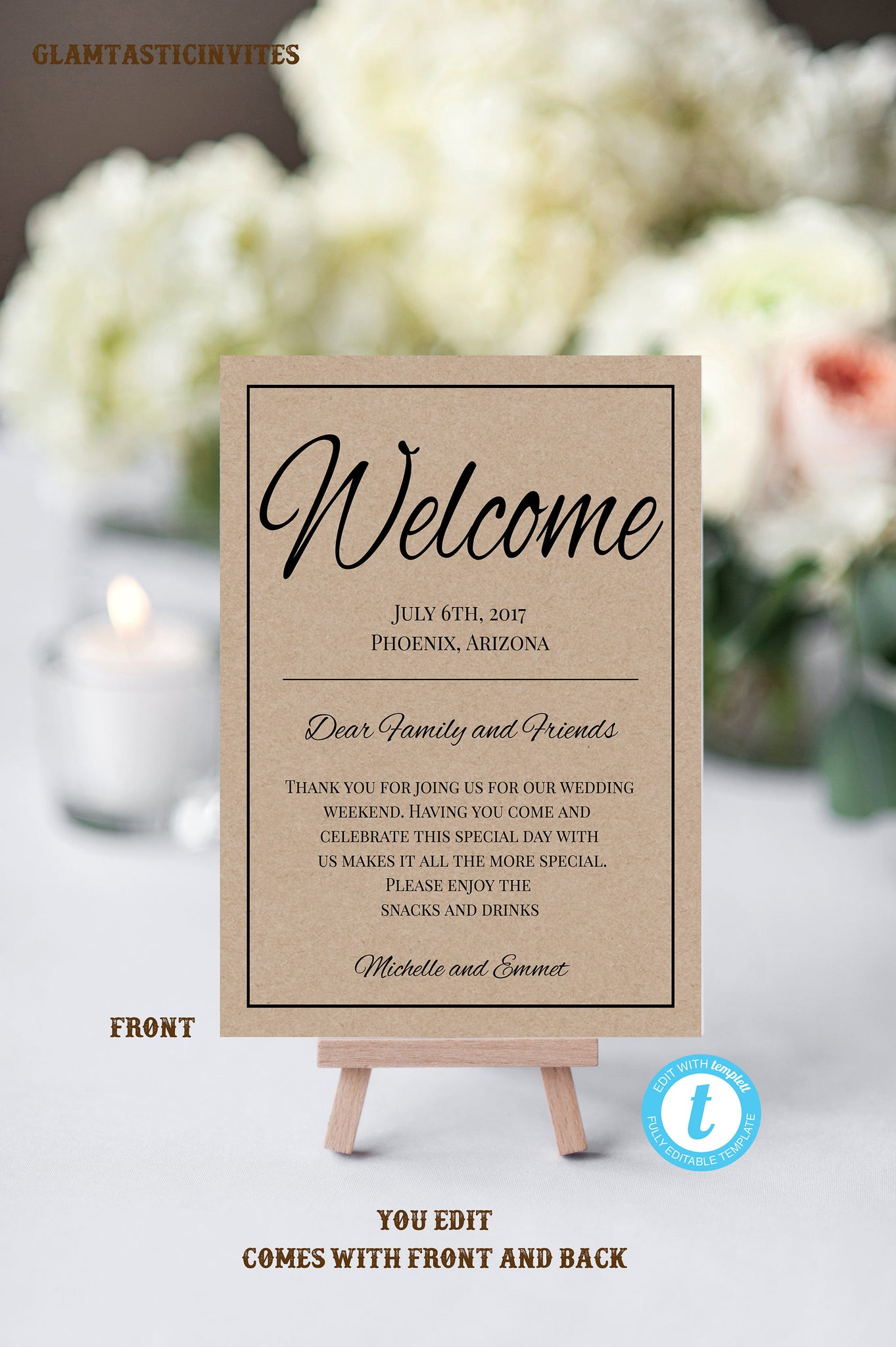 Wedding Welcome Note Template, Welcome Note, Wedding Template, YOU EDIT, Welcome Bag Letter, Hotel Card, Itinerary, Kraft, Printable, DIY