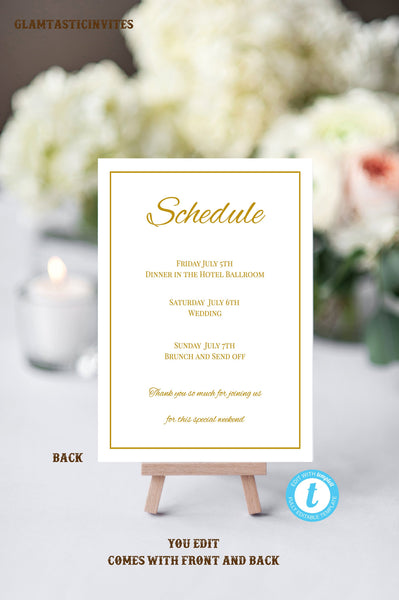 Gold Wedding Welcome Note Template, Welcome Note, Wedding Template, YOU EDIT, Welcome Bag Letter, Hotel Card, Itinerary, Gold, Printable,DIY
