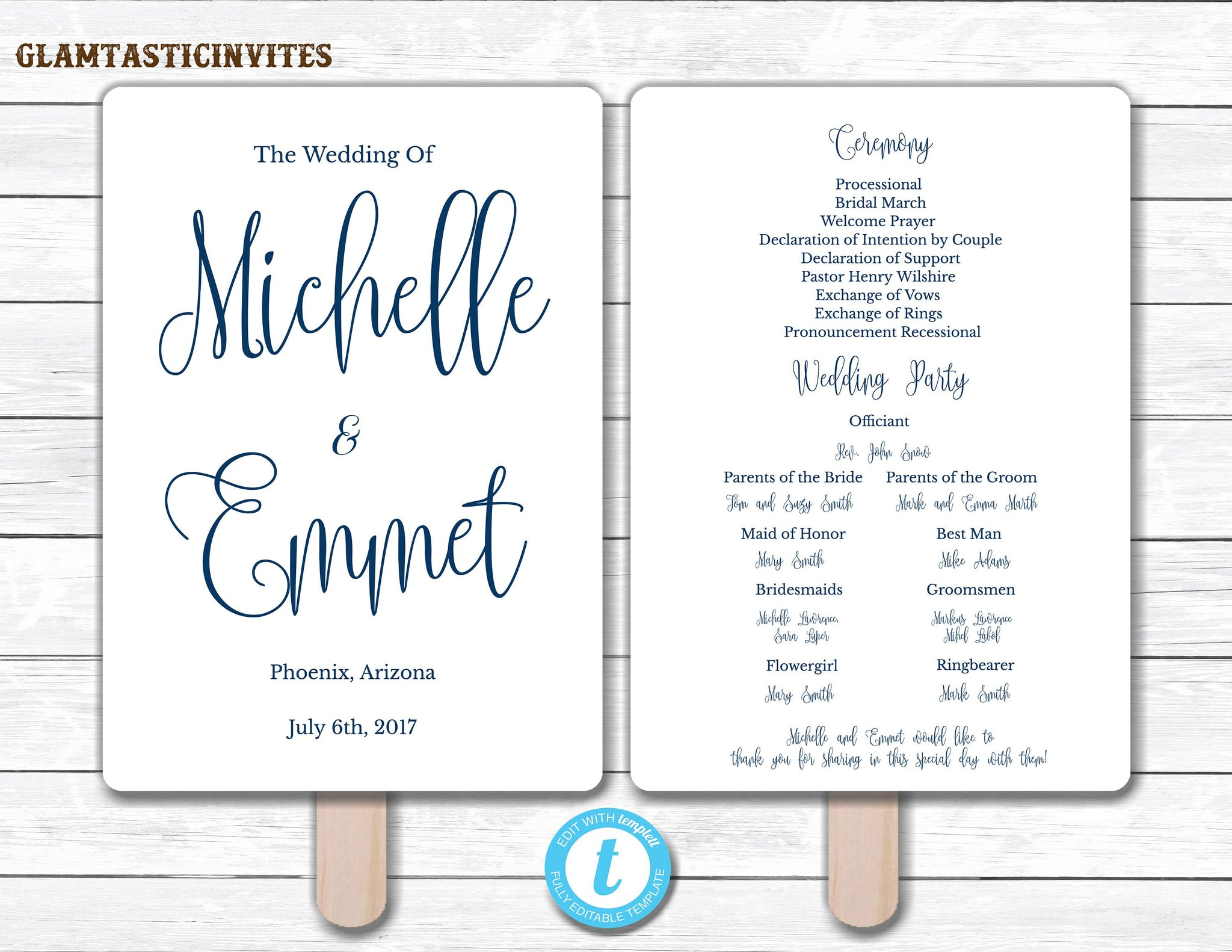 Wedding Fan Program Template, Navy Blue Wedding Program Template, Ceremony Wedding Program, Wedding Fan, Wedding Template, YOU EDIT, Navy