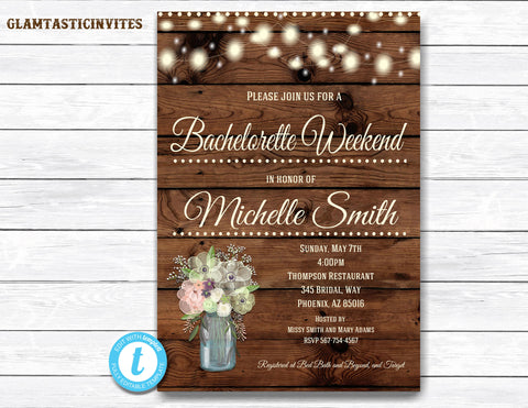 Rustic Bachelorette Party Invitation, Rustic Invitation, Mason Jar invitation, Flower Invitation, Bridal Shower Invitation, Bachelorette