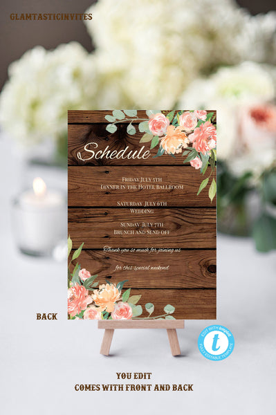 Rustic Wedding Welcome Note Template, Welcome Note, Wedding Template, YOU EDIT, Welcome Bag Letter, Hotel Card, Itinerary, Agenda, Printable
