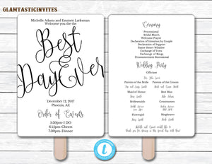 Wedding Fan Program Template, Black Wedding Program Template, Ceremony Wedding Program, Wedding Fan, Wedding Template, YOU EDIT, Black