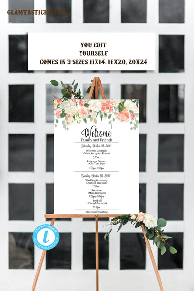 Wedding Program Sign, Wedding Program Template, Wedding Template, Sunflower Wedding Template, You Edit, Wedding Welcome Sign, Printable, DIY