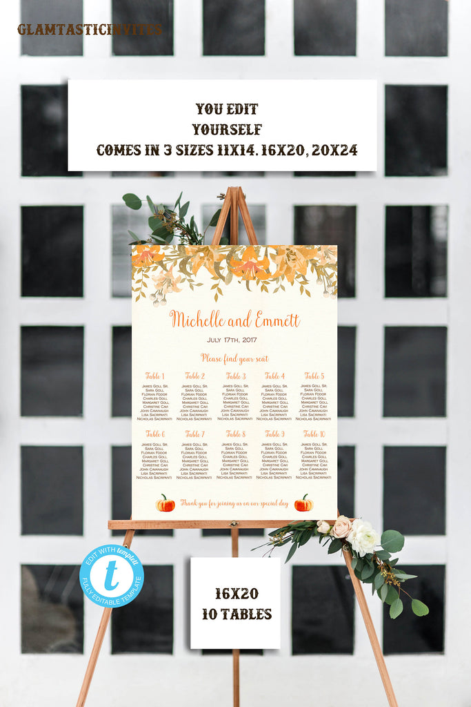 fall wedding seating chart template personalized wedding seating