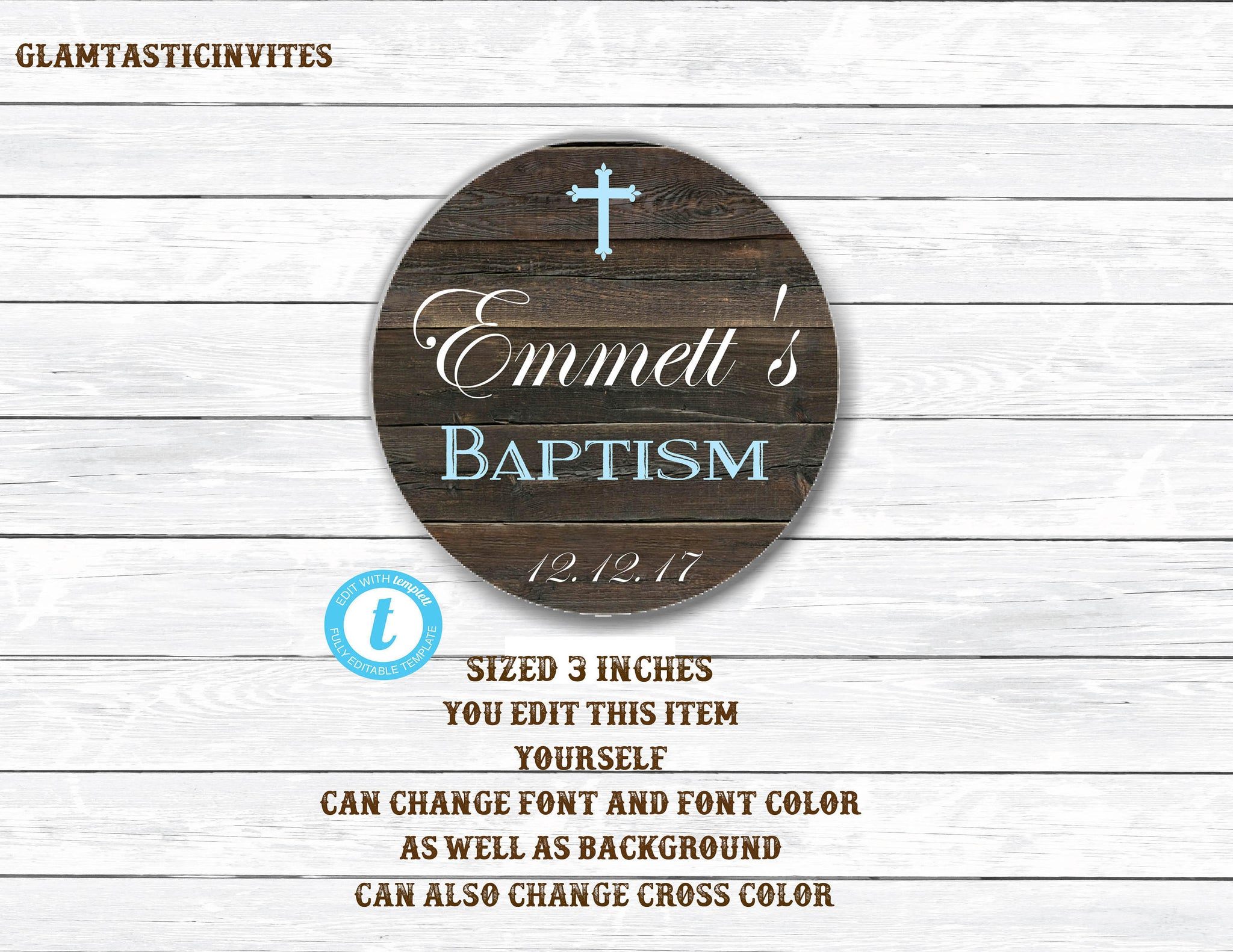 Baptism Thank You Tag Rustic Thank You Tag Baptism Circle Template