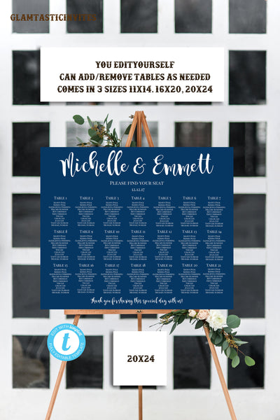 Blue Wedding Seating Chart Template, Wedding Seating Chart, Navy Blue Wedding Seating Chart, YOU EDIT, Seating Chart Template, Template,Blue