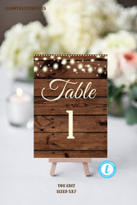 Rustic Table Numbers, Printable Table Numbers, Wedding Table Numbers, Instant Download, Rustic Wedding, YOU EDIT, DIY, Wedding Template