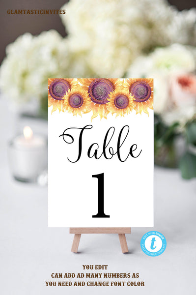 Prime Table Numbers Template Printable Table Numbers Wedding Table Numbers Instant Download Sunflower Wedding You Edit Diy Wedding Template Download Free Architecture Designs Embacsunscenecom