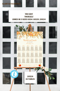 Fall Wedding Seating Chart Template, Personalized Wedding Seating Chart, Fall Wedding Seating Chart, Pumpkin Seating Chart Template, Pumpkin