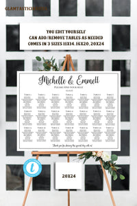 Wedding Seating Chart Template, Personalized Wedding Seating Chart, Script Wedding Seating Chart, YOU EDIT, Seating Chart Template, Template
