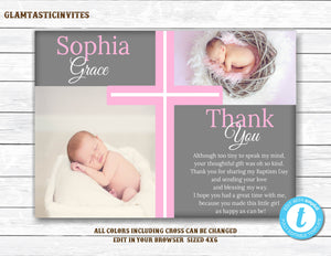 Baptism Thank You Girl Template, Baptism Thank You Printable, Girl Baptism Thank You, Printable Communion Thank You, Party Invite Girl, DIY