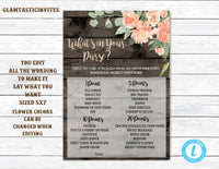 Whats in Your Purse, You Edit, DIY, Whats in your Purse Game, Baby Shower Game, Baby Shower Purse Game, Baby Shower Template, Rustic Shower