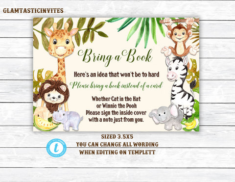 Baby Shower Book Request, Jungle Baby Shower, Template, You Edit, Jungle Baby Shower Game, Jungle Book Request Insert, Invitation Insert