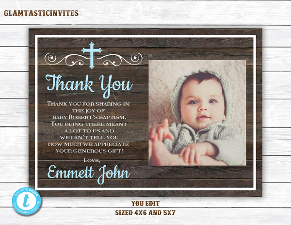 Baptism Thank You, Baptism Thank You Printable, Baptism Template, Thank You Template, Rustic Baptism Thank You, You Edit, First Communion