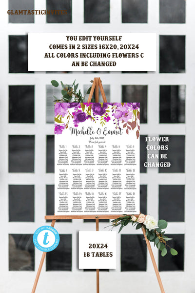Wedding Seating Chart Template Floral Wedding Seating Chart