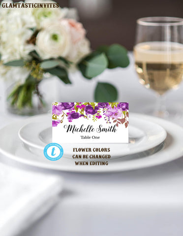 Place Card Template, Food Tent Template, Wedding Place Cards Template, Wedding Template, Cursive Script, Floral Place Card, Template, DIY
