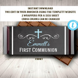 First Communion Candy Wrapper Template  Boy, Boy First Communion Chocolate Wrapper, First Communion Template, First Communion Boy, You Edit