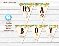 It's a BOY Banner, Safari Baby Shower Banner, Jungle Baby Shower Banner, Editable, BOY Shower Banner, Baby Boy Shower, Digital Banner