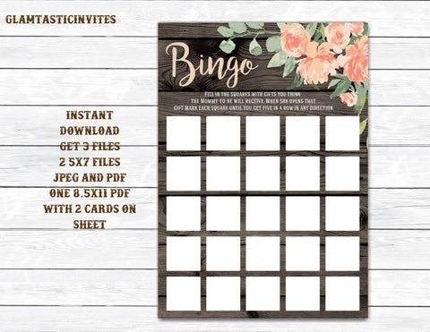 Bingo, Baby Shower BINGO, Rustic Bingo, Rustic Baby Shower, Baby Shower Bingo, Baby Shower Game, Mason Jar Bingo Game, Baby Girl, Baby Boy