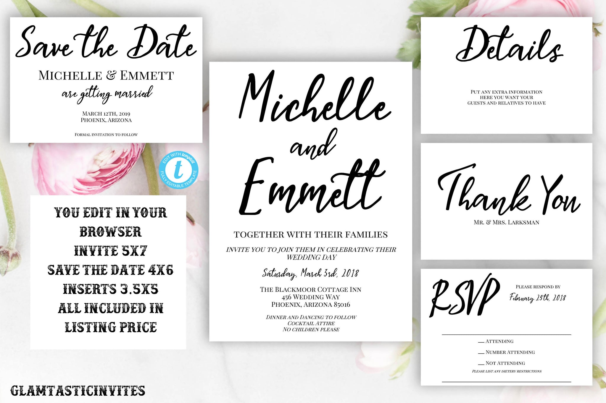 Wedding Invitation Template, Wedding Invitation Suite, Printable Wedding Invitation Template Suite, Instant Download,Invitation Template Set