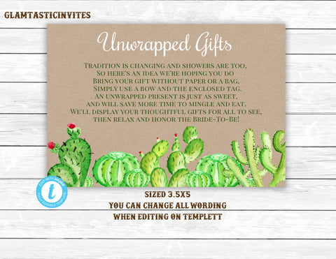 Unwrapped Gift, Succulent Bridal Shower, Bridal Shower Gift Tag, No Wrap Bridal Shower gift label,No Wrap Label,Cactus Gift Label, Succulent