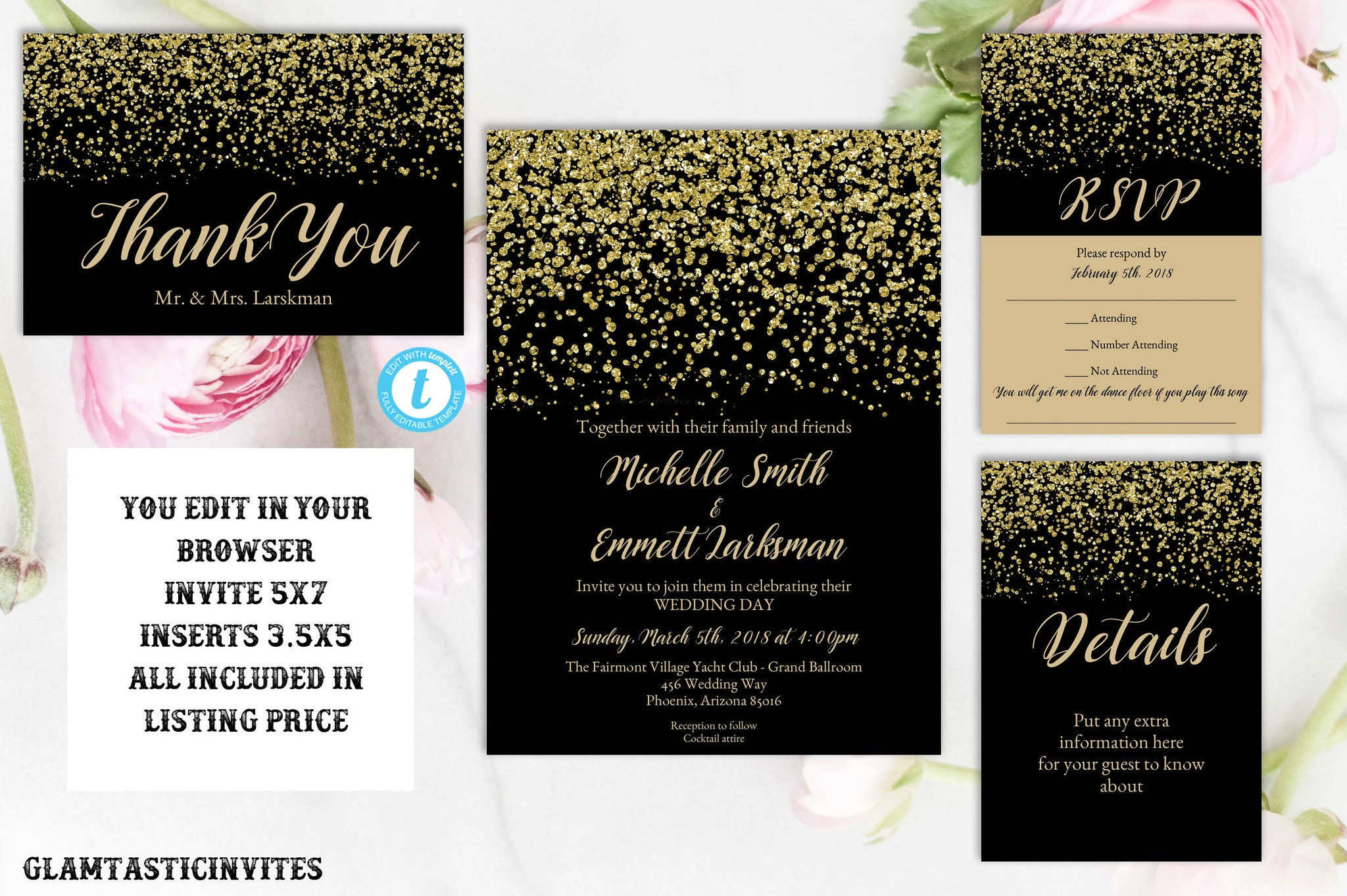 Black and Gold Wedding Invitation Template, Gold Glitter, Gold Wedding Invitation, Wedding Invitation Suite Template, Instant Download, DIY