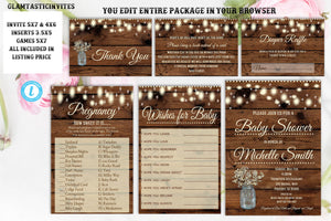 Rustic Baby Shower Invitation Package Template Instant Download Printable Editable Books for Baby Diaper Raffle Country Games Bingo Wood DIY