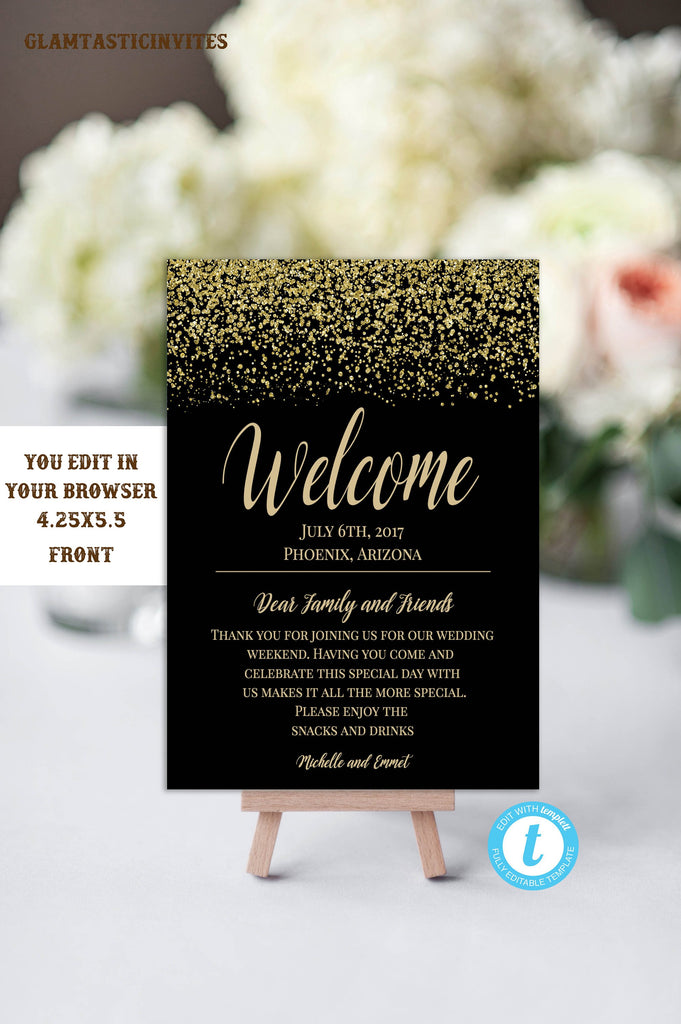 Black And Gold Wedding Welcome Card Template Wedding Welcome Template Wedding Itinerary Template Diy Wedding Instant Download Template