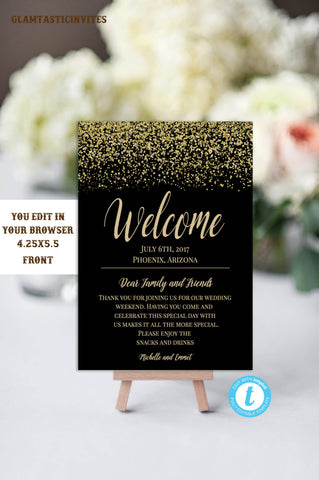 Black and Gold Wedding Welcome Card Template, Wedding Welcome Template, Wedding Itinerary Template, DIY Wedding, Instant Download, Template