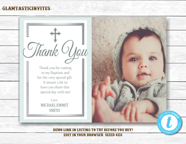 Baptism Thank You Template, Baptism Thank You Printable, Boy Baptism Thank You, Printable Baptism Thank You, Party Invite Boy, Blue,You Edit
