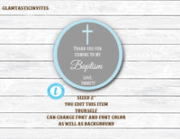 Baptism Thank You Tags, Christening Thank You Tags, Boy Baptism Tag, You Edit, Template Thank You Tags, Baptism Thank You Template,DIY Favor