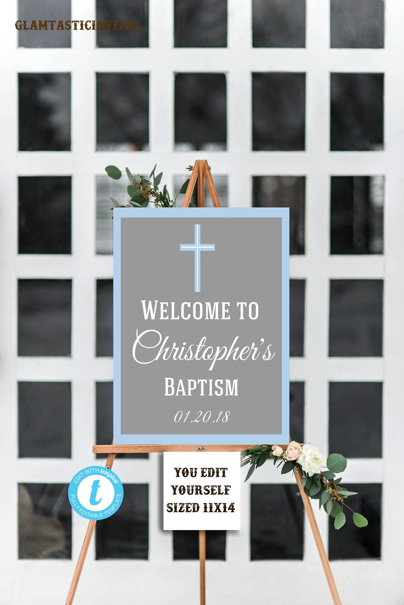 Welcome Sign Template | Baptism Welcome Sign Blue Baptism Template Communion Sign Boy