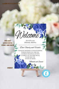 Blue Floral Wedding Welcome Note Template, Welcome Note, Wedding Template, YOU EDIT, Agenda, Welcome Bag Letter, Hotel Card, Itinerary, DIY