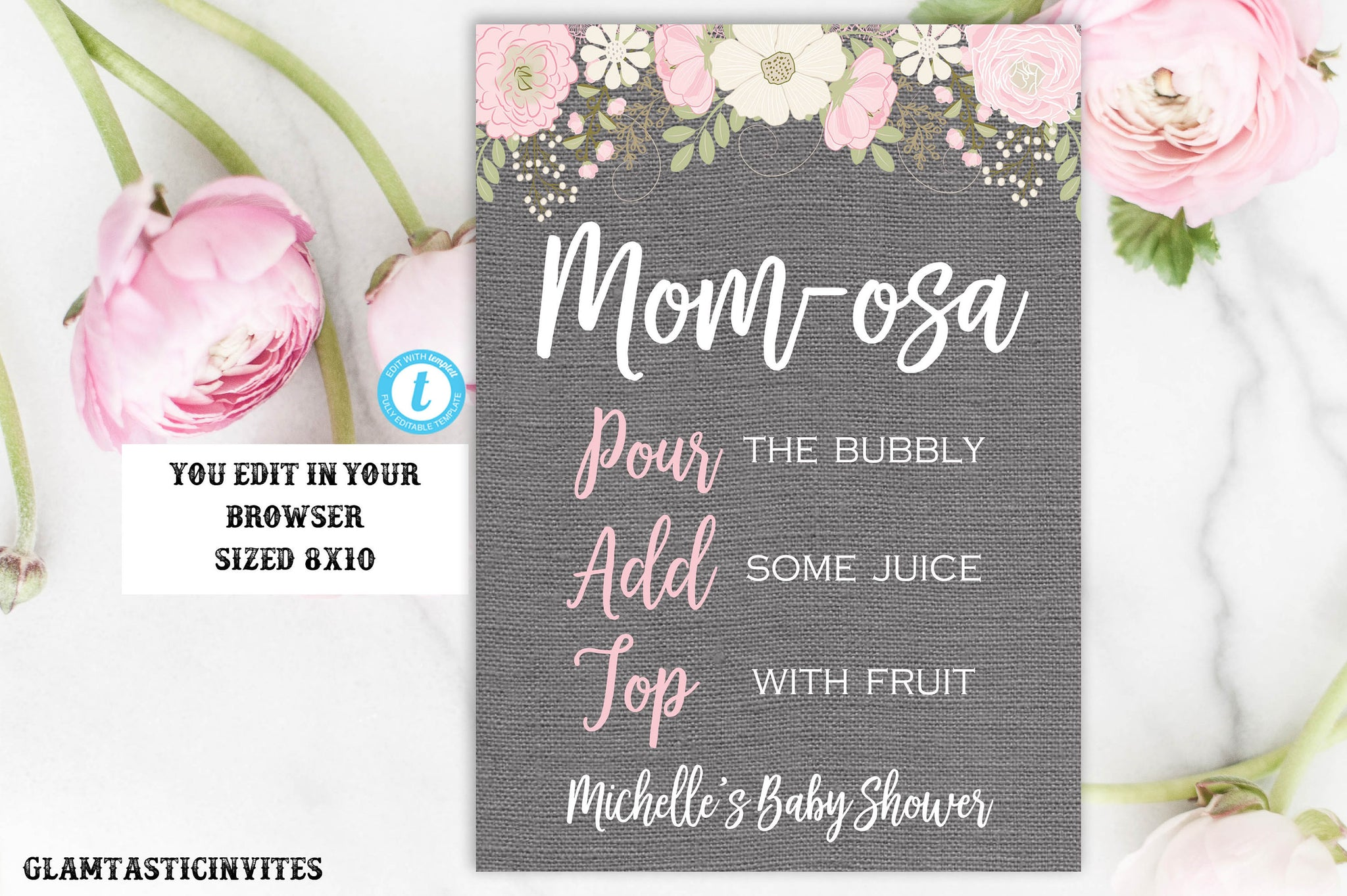 Mom-osa Bar Sign Template, Momosa, Floral Baby Shower Sign, Printable Sign, Shower Sign, Momosa Sign, Template, Floral Mom-osa Sign, Mom-osa